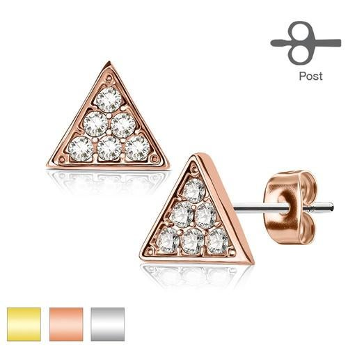 Pair of Crystal Paved Triangle 316L Surgical Steel Post Earring Studs