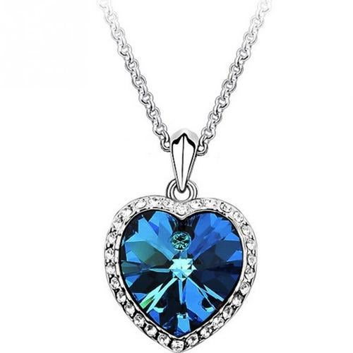 18kt White Gold Plated Large Heart Pendant Necklace