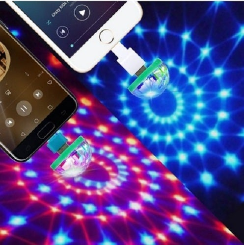 Hot Colorful Led USB Phone Microphone Voice Control Burst Flash Neon Lights Mini Type-C Disco Light  Ball Home Party KTV Supply