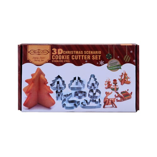 3D Christmas Cookie Stainless Steel Cutter DIY Biscuit Mould Mold Cake Decorating - Snowman / Christmas Tree / Reindeer / Sleigh (8pcs)