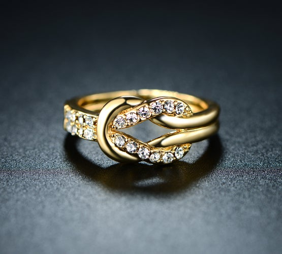 Yellow Gold Filled Swarovski Elements Buckle Ring