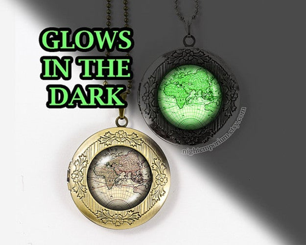 World map vintage travel glow in the dark bronze silver vintage locket necklace photo holiday travel sweet home whimsical dream traveller