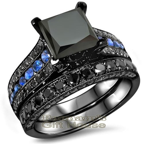 4.30ct Black Princess Cut with Blue CZ Engagement Ring Bridal Set