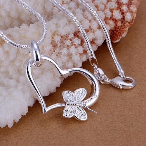 Silver Plated Snake Chain - Heart Butterfly Necklace