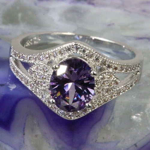 Violet collection from 'Alpha jewelry'. Certified 3X Platinum plated. Genuine 5AAAAA level Italian origin stone inlay with over 30 pure white stones to compliment beauty of main stone . Rich, Sophisticated, Fashionable and absolutely outstanding quality r