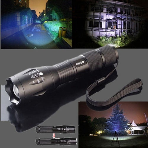 UltraFire CREE XML T6 LED Zoom Flashlight Waterproof Torch 3000Lm 5 Mode Bright (Color: Black)