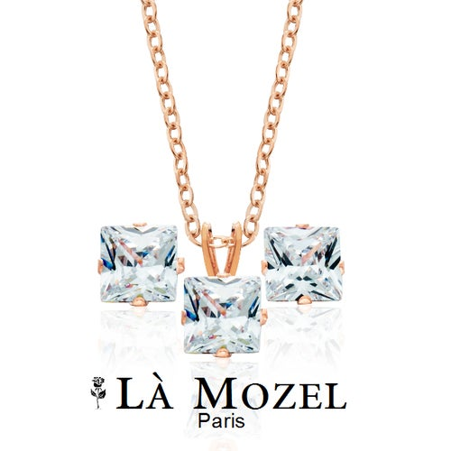 Gorgeous 2 Piece Set: HandCrafted Rose Gold Plated Princess Cut Pendant And Earring Matching Set