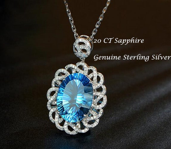 20 CT Natural Blue Topaz Pendant 925 Sterling Silver Pendant Chain Necklace