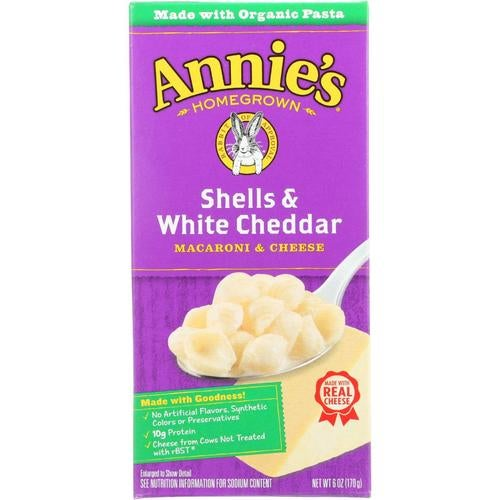 Annie's Homegrown Annies Homegrown Macaroni And Cheese - Shells And White Cheddar - 6 Oz - Case Of 12