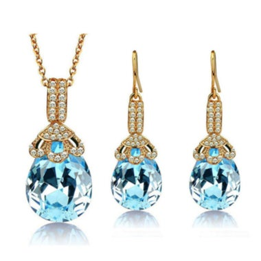 Gorgeous Exquisite Genuine Pear Cut Light Blue AAA Zircon Pendant Necklace And E