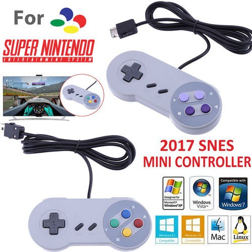 Classic Mini Game Controller Gamepad for Super Nintendo SNES System Game Console