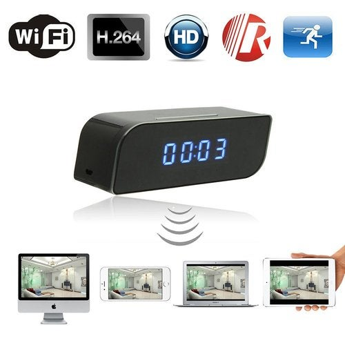 HD 720P Wireless Wifi IP Spy Hidden Camera Motion Security Alarm Clock IR DV Night Vision Motion Detection Video