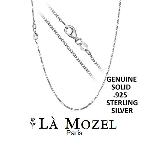 """Choose Size: 925 Sterling Silver Cable Necklace - 16"""" - 30"""""""