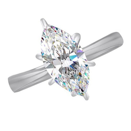 WPG Simple Large Solitaire CZ Marquise Cut Wedding/Engagement Ring