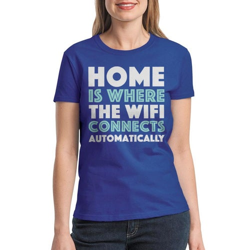 Home Is Where...  Wifi Connects Women's Royal Blue T-shirt