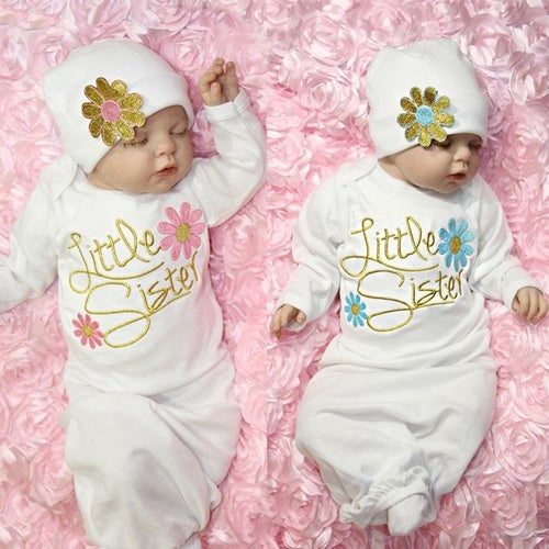 Take Home Outfit Flower Little Sister Baby Girl Gown Hat Infant Newborn Gift Set
