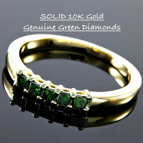Solid 10k Yellow Gold, 0.22ctw Genuine Green Diamonds Wedding Band #glamgold4325