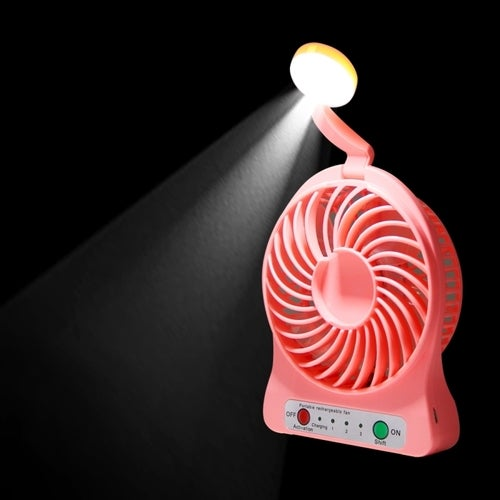 Multi-function Portable Rechargeable Low Noise Mini USB Fan With LED Light & 3 Level Adjustable Wind Speed