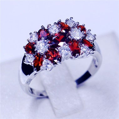 Classic Jewelry Birthstone Anniversary band rings for women 5A Red Green Zircon