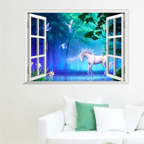 3D Forest Unicorn Window Wall Sticker TV Background Living Room Home Decor
