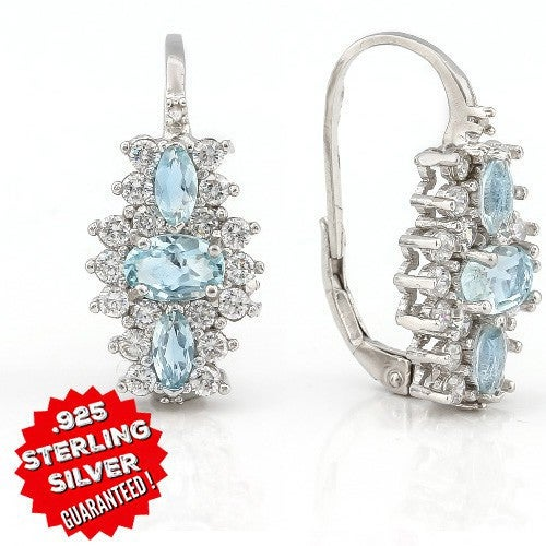 Solid .925 Silver Smashing 1.74 CT SKY Blue Topaz And 1.50 CT White Sapphire with 18K White Gold Filled Earrings. SSIL8048