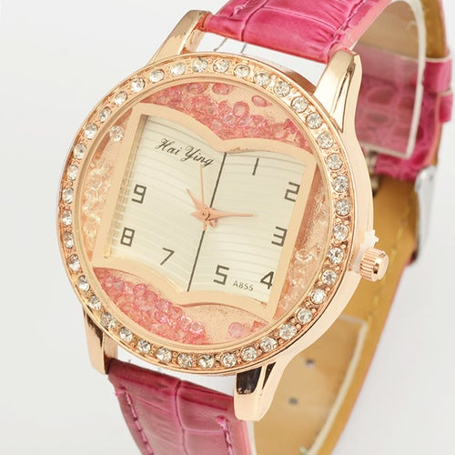 Luxury Book Dial Pattern Crystal Female Wrist Watch with PU Leather Band