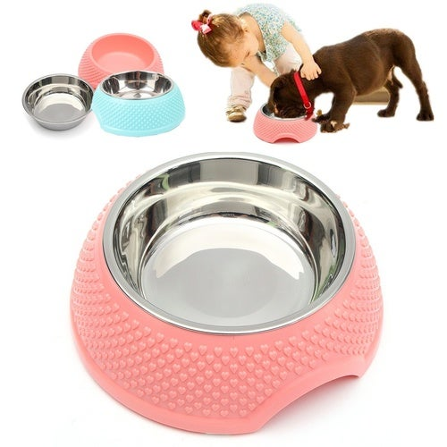 Plastic+Stainless Steel Pet Food Dish Bowl Dog Cat Puppy Home Travel Portable Feeding Feeder Food Water Bowl Gifts
