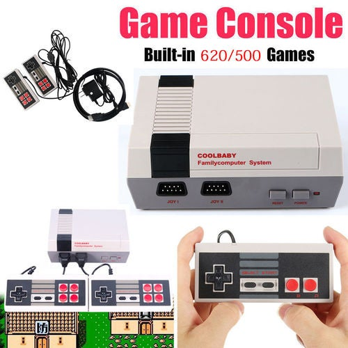 Mini Retro Classic NES Console TV Game Built-in 500/620 Games+2 Handle Controllers