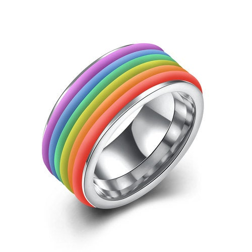 Rainbow Ring Platinum Plated 316L Stainless Steel Wedding Bands Engagement Gift Fashion Jewelry Sets For Women Men Lovers TGR001-B-8