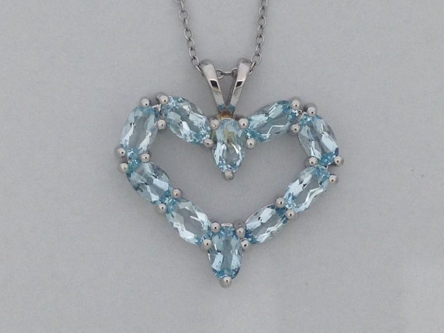 925 Sterling Silver Natural Blue Topaz Open Heart Necklace