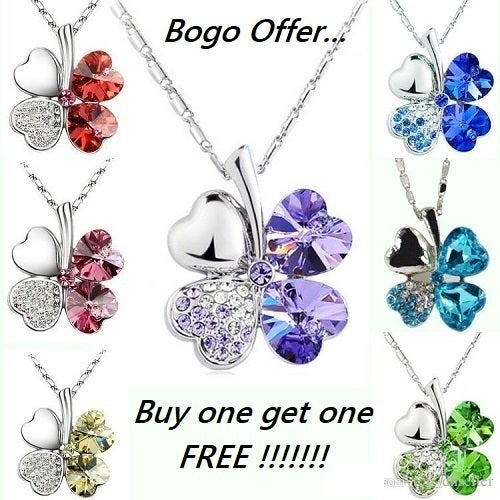 Bogo Offer... Buy one get one FREE !!! 18K WGP Swavorski Crystal and AAA CZ Clover Necklace