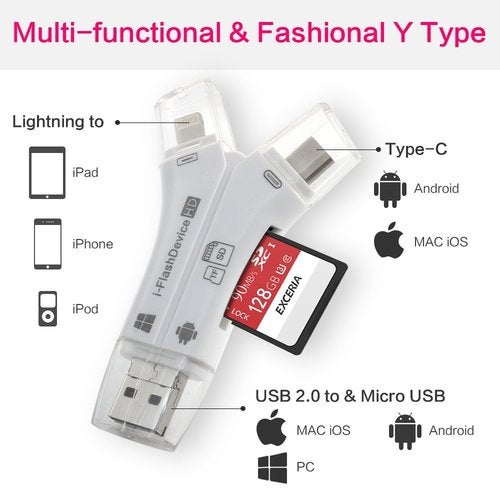4 in 1 Type-c/Lightning/Micro USB/USB 2.0 Memory Card Reader Micro SD Card Reader For Android iPad/iPhone 8 7 plus 6s OTG Reader