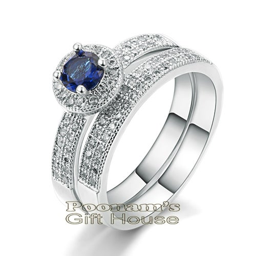 18K White Gold Plated Blue zircon Wedding Ring set