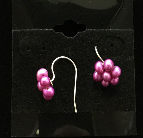 Genuine Pink Freshwater Flower Shape Hook Earrings
