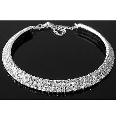 SUPER GORGEOUS CRYSTAL GEM SILVER STATEMENT NECKLACE COLLAR NEW GLAMOROUS