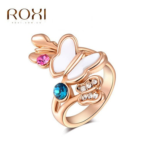 Austrian crystal butterfly rose gold color ring
