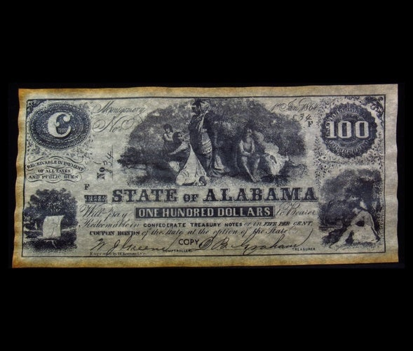 1864 $100 State of Alabama Confederate Currency  - Reproduction -