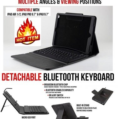 Apple Ipad Air Bluetooth Leather Keyboard Case
