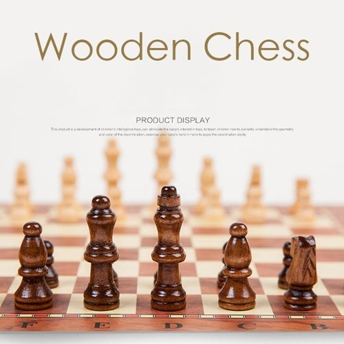 Folding Classic Wood Chess Set with For Home and Travel Portable and Light