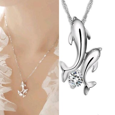 Cute Silver Double Dolphin Rhinestone Chain Necklace