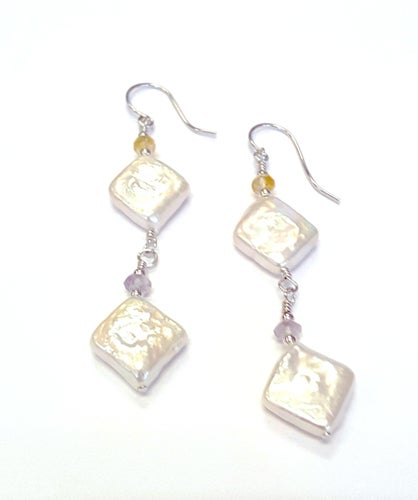 Genuine Diamond Shape Freshwater Pearl & Amethyst Chips With Citrine Chips Earrings