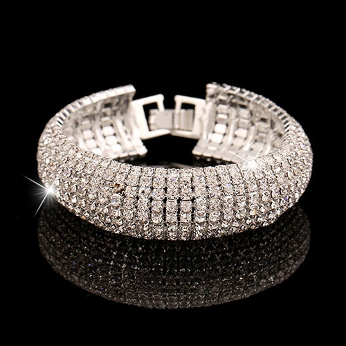 Dazzling Thick Crystal Bracelet Your choice of Silver or Golden