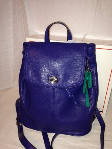 4bdcb0bdf Coach F24385 Leather Backpack Purse Bag French Blue | Tophatter