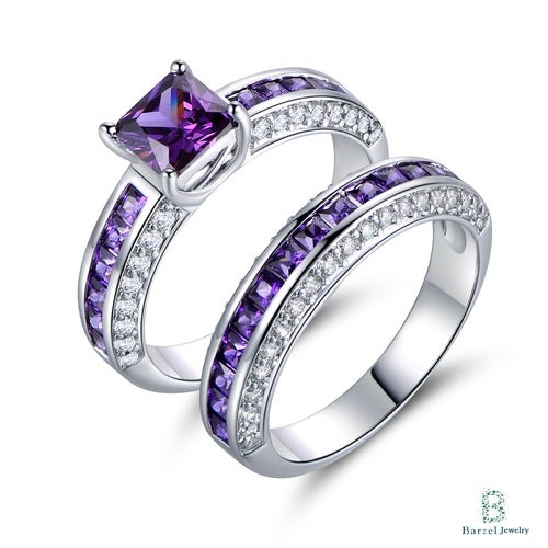 18K White Gold Plated & 4ct. Princess-Cut Double Band Engagement Ring