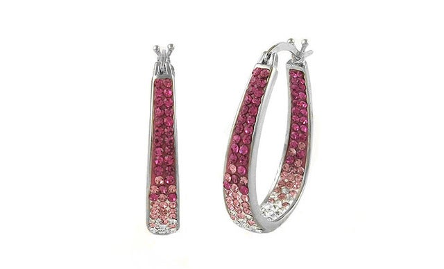 18Kt White Gold Plated Pink Ombre Austrian Crystal Inside Outside Hoop Earings