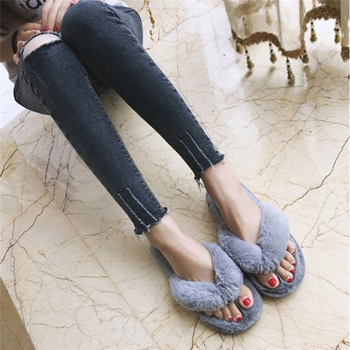 3 Colors Fashion Spring Summer Winter Home Cotton Plush Slippers Women Indoor \ Floor Slippers Flat Shoes Girls Gift