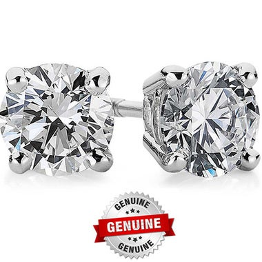 Genuine 14K White Gold 1.5 ct Round Brilliant Cut Solitaire Stud Earrings