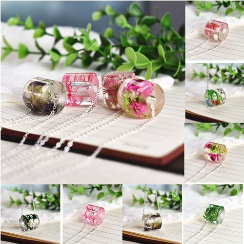 Romantic Homemade Dried Flower Resin Necklace Engagement Gift Glass Pendant Jewelry