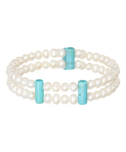Natural Turquoise & Pearl Stretch Cuff