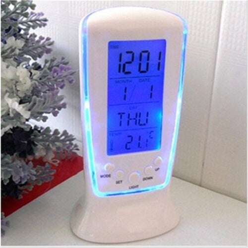 LED Electronic Luminous Lazy Mute Calendar Thermometer Alarm Clock